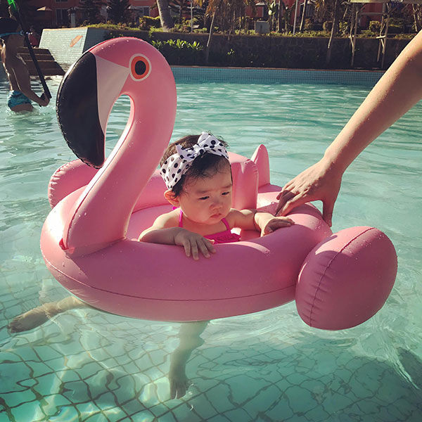 Baby Inflatable Swimming Pool Floats White Swan Pink
